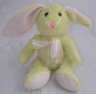 DOLLAR TREE Plush Yellow Bunny Rabbit Pink Bow Sits 5.5