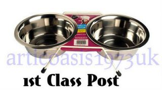 Stainless Steel Raised BLUE Double Diner   Cat Dog Food Water Bowls
