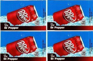 Dr Pepper 4 Medium 12 oz Can Vending Machine Soda Flavor Labels