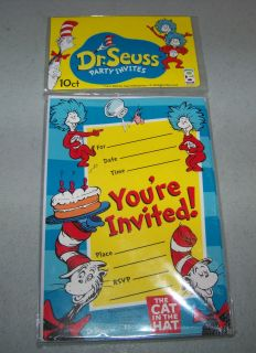 DR SEUSS Cat In The Hat PARTY INVITATIONS Cards w/ Envelopes ~ NEW