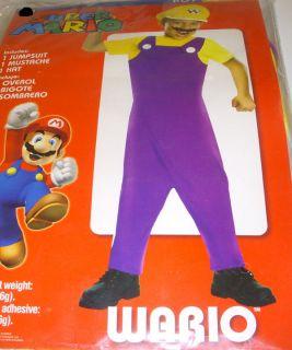 Super Mario Wario Jumpsuit Costume Dress up Child L 10 12 NIP