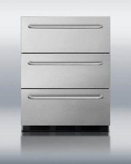Summit 24 Wide 3 Drawer Undercounter Freezer Stainless W/ Towel Bar
