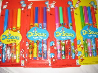 Dr Seuss Cat in Hat ~ NEW ~ Favors 4 Count Markers Sets