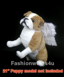 Pets White feather angel wings costume posing props for medium size