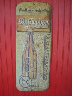 1940s Vintage Dr. Pepper Soda Metal Thermometer 26