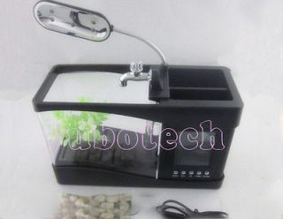 function USB Desktop Aquarium Mini Fish Tank With Running Water Black