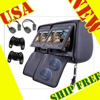 2x 7 Inch Car Headrest DVD Player Radio TV Monitor+Headphones+Game