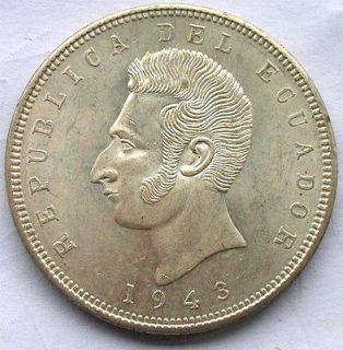 Ecuador 1943 Sucre Head 5 Sucres Silver Coin