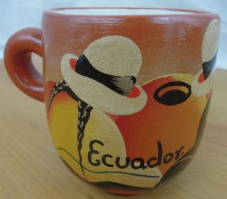Ecuador South American Pottery Coffee Cup Hand Painted Panama Hat