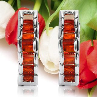 HOOP HUGGIE CUFF RED GARNET GOLD GP EARRINGS EAR RING CUT 1164GAR