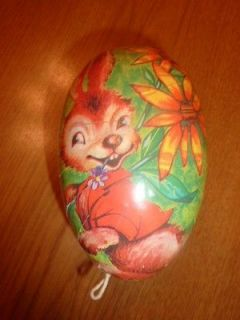 Vintage Papier Paper Mache Easter Egg Candy Container German Bunny