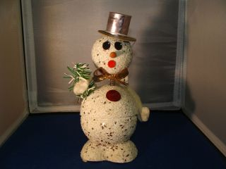 Snowman Paper Mache Candy Container Rare Bobblehead Western Germany