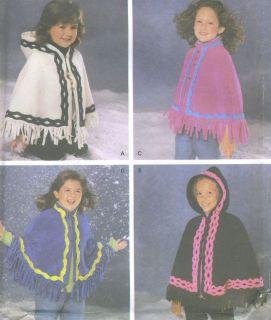 Simplicity 4442 Misses Child's Hooded Fleece Poncho Pattern | eBay