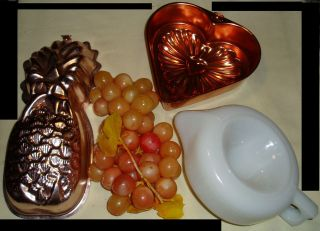 Vintage Copper Jello Molds: Heart & Pineapple/ Sunkist milkglass