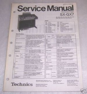 TECHNICS SX GX7 ELECTRONIC ORGAN SERVICE MANUAL