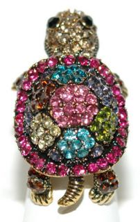 ADORABLE TURTLE MULTI COLORS AUSTRIAN CRYSTAL STRETCH BAND RING (R006)