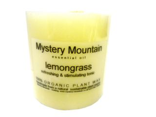 Lemongrass Scented Organic Candle  100% Plant Wax   50 hours burn time