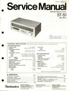 Original Technics ST S1 Tuner Service Manual