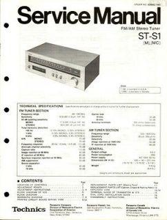 Original Technics ST S1 Tuner Service Manual