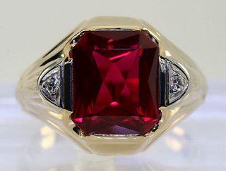 EMERALD CUT CHERRY RED RUBY ROUND DIAMOND 14K YELLOW GOLD RING SALE