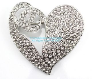 Clear Austrian Rhinestone Crystal Heart Brooch Pin