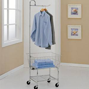 Commercial Laundry Cart w/ Basket Hanging Bar & Shelf