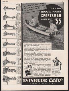 1935 EVINRUDE ELTO OUTBOARD MOTOR ENGINE SPORT BOAT AD
