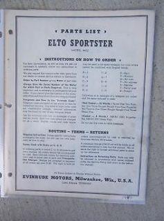 1949 Evinrude Elto Sportster Outboard Motor Parts Manual 4432 List