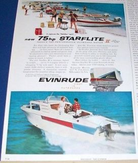 1959 Evinrude 75 hp Starflite outboard motor boating Ad