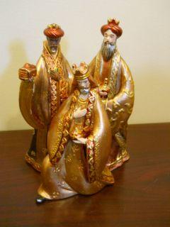 GOLD THREE 3 WISE MEN NATIVITY SCENE CHRISTMAS DECORATION COPPER BRING