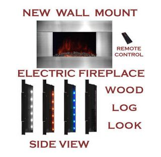 Mounted Modern Electric Fireplace Heater LED Side Light and Remote