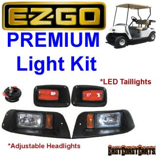 EZGO TXT Golf Cart Adjustable LIGHT KIT w/LED Tail Lights, Halogen