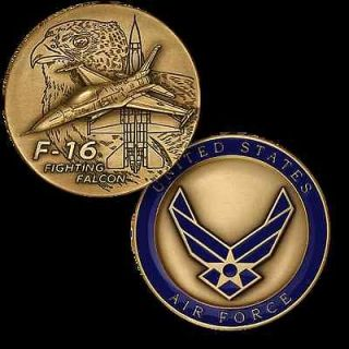 UNITED STATES AIR FORCE F 16 FIGHTING FALCON 1 3/4 MILITARY COIN