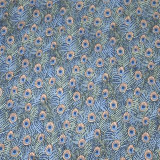 Peacock Feathers Print Cotton Lawn Designer Dress Fabric   per metre