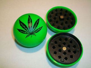 BALL GREEN HERB GRINDER WITH POT WEED LEAF FOR USE WITH VAPORIZOR