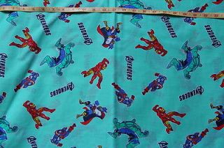 Fabric Avengers Iron Man Hulk Captain America blue yellow pink green