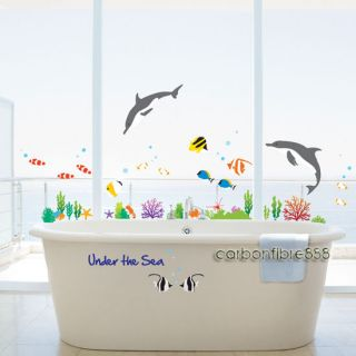 Large Under the Sea Dolphins & Fish Bathroom Tile Wall Stickers Kids