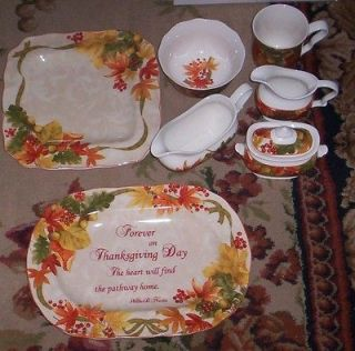 222 Fifth Autumn Celebration Thanksgiving Platter Gravy Sg Cr S/17