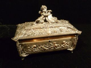 INCREDIBLE FRENCH SIGNED F BARBEDIENNE SILVERED BRONZE & GILT JEWELRY