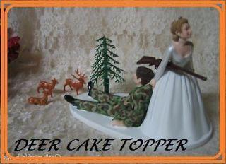 HUMOROUS WEDDING BUCK DOE DEER CAMO HUNTER HUNTING CAKE TOPPER