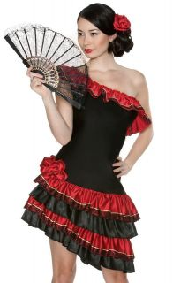 Sexy Womens Spanish Flamenco Tango Dancer Halloween Fancy Dress