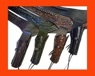 WESTERN Cowboy Gun Belt HOLSTER RIG   Heavy Hand Tooled Leather   Old
