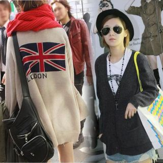 Womens V neck Casual Loose Behind Union Jack Knit Coat Tops Cardigan