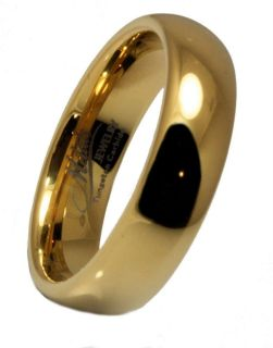 Carbide Gold Plated Wedding Band Ring Comfort Fit 6mm Size 6 13
