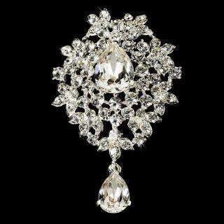 Austrian Crystal Dangle Bridal Brooch Comb Cake Brooch