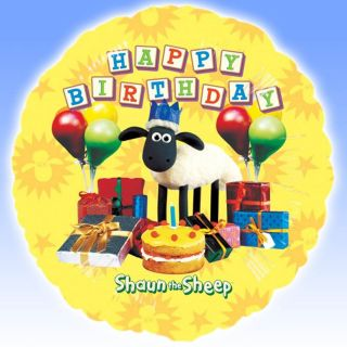 18 Yellow SHAUN the SHEEP Happy Birthday Round Foil Balloon