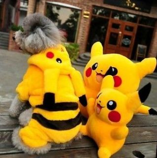 Cute toy poodle Costumes Pokemon Pikachu Pet Puppy Dog Clothes Hooded