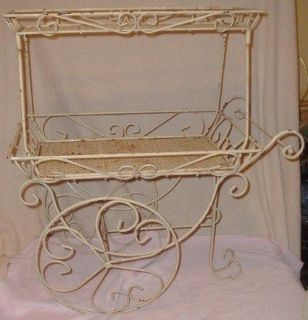 Vintage 2 Tier Wrought Iron Patio Flower/Tea Cart w Wheels Fancy