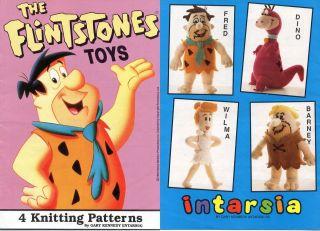 Knitting Pattern 4 Flintstone Toys * Fred, Wilma, Barney & Dino