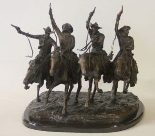 FREDERIC REMINGTON COMING THROUGH THE RYE BRONZE SCULPTURE ON MARBLE